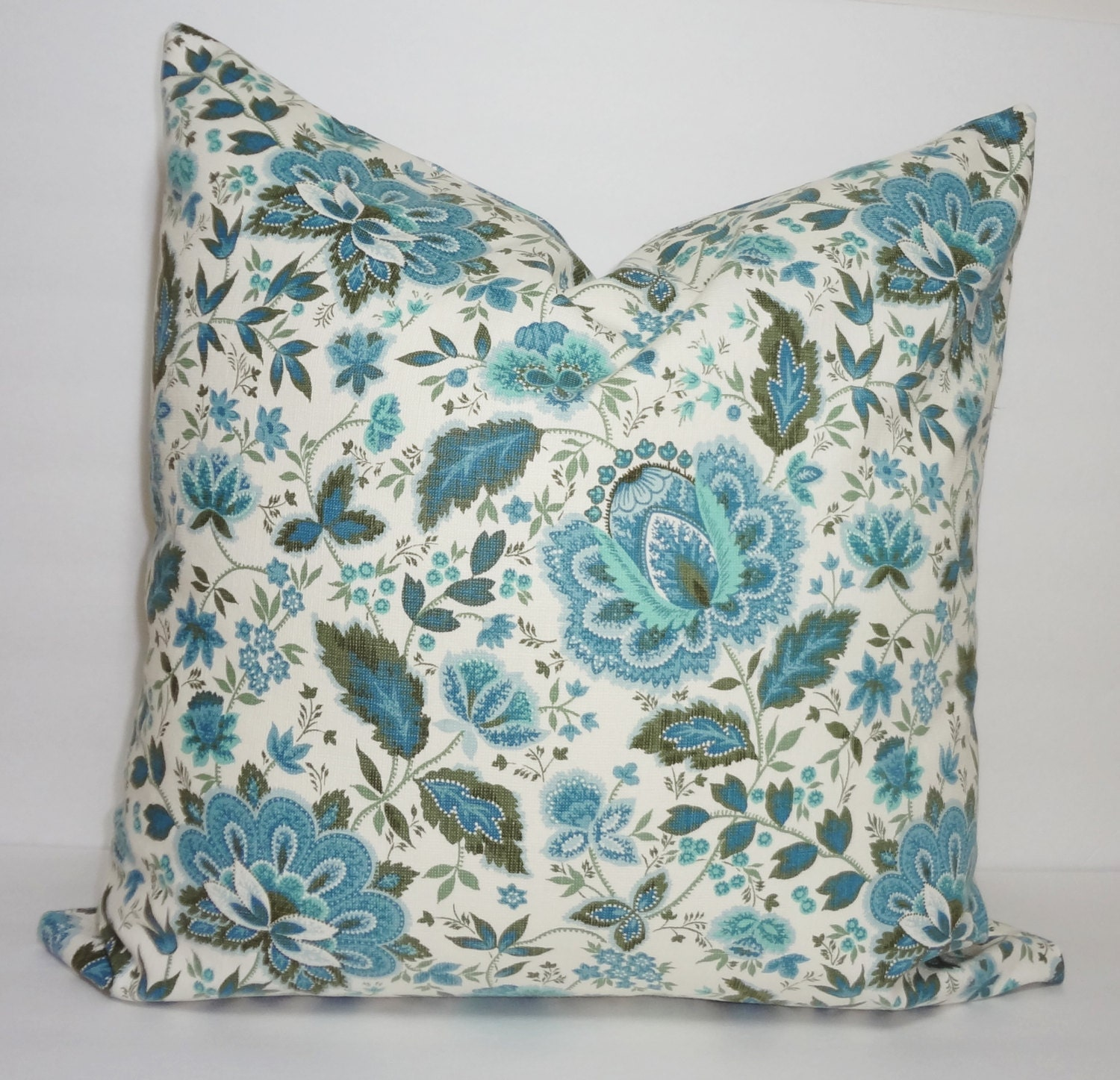 Waverly Blue Floral Pillow Cover Decorative Blue Flower Throw