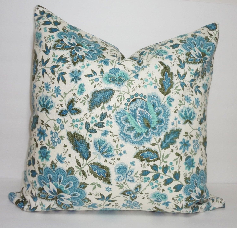 Waverly Decorative Throw Pillows : Waverly Blue Floral Pillow Cover Decorative Blue Flower Throw