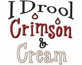 I Drool Crimson and Cream - Machine Embroidery Design - 8 Sizes