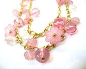 signed TRIFARI ™ Long Double Chain Necklace, Pink Floral Glass Beads, Spring Flowers, Designer Signed, Gift Idea, Excellent