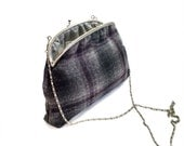 """Felted Wool Fabric Clutch Framed Purse - Winter collection - Silver Plate Rope Shoulder Chain - Dark Gray fabric - 8"""" Frame Purse"""