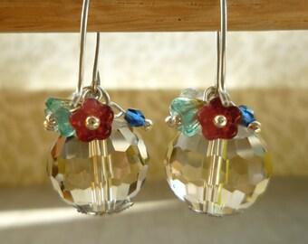 Crystal Glass Beaded Earrings - Faceted Crystal Ball & Czech Glass Flower Beaded Earrings