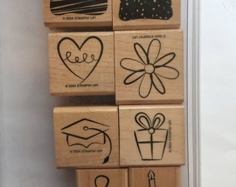Stampin Up Little Layers, Plus Stamp Set Used Baby, Graduation, Flower, Heart