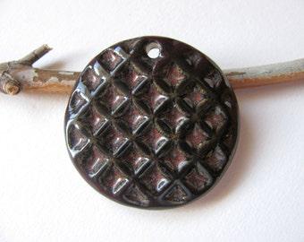 Brown Diamond Pattern Stoneware Pendant