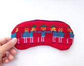 Eye Mask - Red Mexican Fabric - Eyeshade Sleeping Mask - Slumber  party Eye Mask Eye Pillow  - Wedding favor - Piñata Blindfold