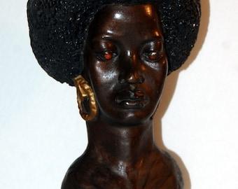 60s Afro Woman Head Bust Chalkware Vintage Black Power Soul