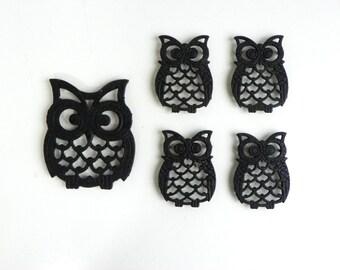 Mid Century Cast Iron Owl Trivets - Set