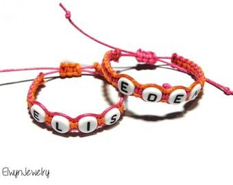 Twin Girls Bracelets, Name Bracelets, Personalized Bracelets, Baby Girl Bracelet, Child Bracelet, Kid Bracelet, Kid Jewelry, Twins Bracelets