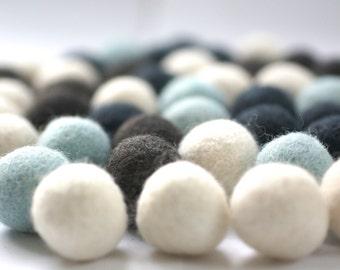 100% Wool Felt Balls, blue shades, 50 pcs, 1 inch (2.3 cm), pure wool, Mix Winter