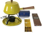Mint in Box Fondue Set Incudes Fondue Pot and 2 Sets of Stainless Steel Rosewood Fondue Forks Harvest Gold Vintage 1970s Mustard Yellow