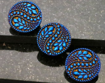 """2 Big Bold Beautiful Czech Glass Buttons Vines,Flowers Deep Vibrant Cobalt Blue 1 5/16"""""""