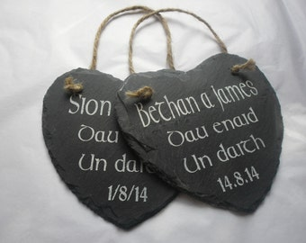 Welsh Bespoke Slate Wedding Gift