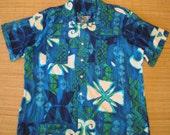 Mens Vintage 70s Blue Hawaii Tribal Aloha Hawaiian Shirt - XL - The Hana Shirt Co