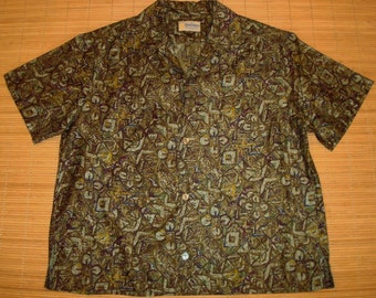 Mens Vintage 60s Bowling Style Hawaiian Aloha Shirt - S -The Hana Shirt Co