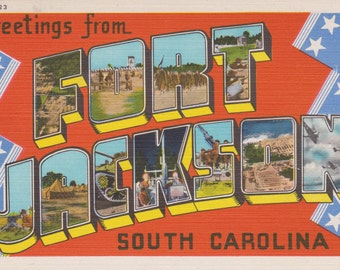 Fort Jackson, South Carolina - Vintage Linen Postcard - Unused (SSS)