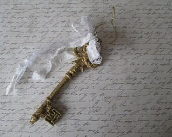 Gold glitter key French seam binding white ribbon rose shabby gold key skeleton key home decor Valentines Day key to my heart cottage style