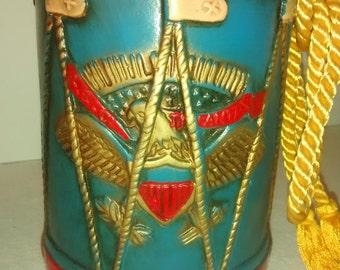 Vintage Mid Century , Patriotic , Drum Bank , Child's Room , Americana