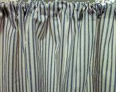 Blue Ticking Curtain, Cabinet/Sink Curtain, One Panel, Navy Blue Ticking Stripe, 50 x 34