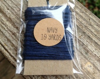 10 Yards - Solid  Baker's  Twine / String • 100% Cotton • Eco Friendly • Gift Wrap • Bakery String • Navy