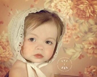 eyelet lace bonnet,toddler,photo prop