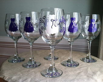 4 Personalized Bride and Bridesmaid Wine Glasses