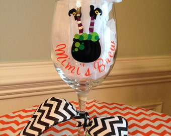"""Personalized """"Drink up Witches"""" Halloween Wine Glass"""
