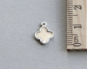 Silver Small Four Leaf Clover, Sterling Silver Four Petal Flower Charm, 925 Sterling Silver Charm, Silver Flower Charm , 9mm ( 1 piece )