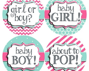 FREE GIFT Weekly Pregnancy Stickers, Baby Bump Stickers, Pregnancy Belly Stickers, Pregnancy Belly, Pregnancy Gift, Chevron, Pink, Mint