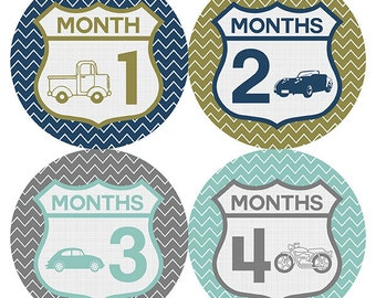 FREE GIFT, Cars Monthly Baby Stickers, Vintage Cars Baby Month Stickers, Baby Boy, Baby Belly Stickers, Traffic, Blue, Mint, Gray, Grey