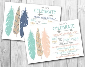 Modern Tribal Feathers Birthday Party Invitation // Digital or Printed (FREE SHIPPING!)