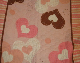 Sale - Girls Crib Size Pink with Hearts Quilt with Satiny Blanket Binding