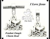 I LoVE Heart JESUS - RELIGiOUS CHRISTiANITY - Smaller PENDaNT - Silver Tone - Silver Plated Dangle Charm Bead - fits European Bracelets - MD