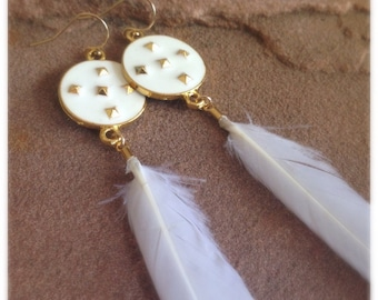 Feather Earrings - White Jewelry - Gold Jewellery - Tribal - Statement
