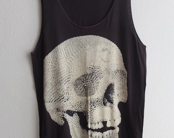 Gothic Art Diamonds Skull Punk Rock Fashion Tank Top M