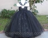 Classis Black with Lace TuTu Dress. Flower Girl Dress. Lace dress. Weding Dress. Birthday