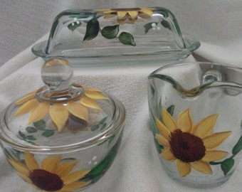 Sunflower Butter Dish, Sugar Bowl and Creamer, Hand Painted