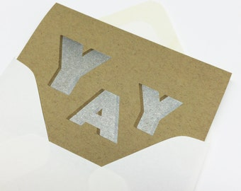 YAY - Celebrate - Just Because - letterpress card by BIMPRESSED