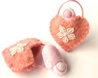 Heart ornament pocket doll hand embroidered waldorf decor valentine sweetheart HOP1w