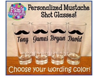 Personalized GROOMSMEN SHOT GLASS with Mustache for Groom Groomsman Best Man Bachelor Party Ushers Fraternity
