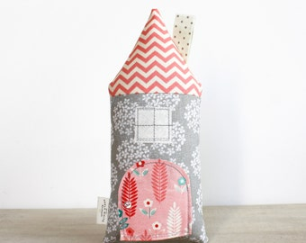 Tooth Fairy Pillow House Pillow Coral and Gray Girls Children Stuffed Toy Secret Door Keepsake