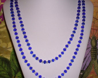 "Two Strand Blue and Clear Swarovski Crystals  22"" Necklace with Box Clasp"