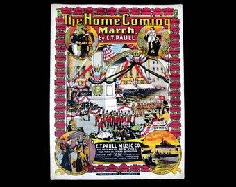 E T Paull Sheet Music The Homecoming March 1908 ET Paull Home Coming March 46 States E T Paul Hoen For Piano Music