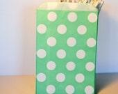 Mint green polka dot candy bag, wedding favor bag for candy buffet, popcorn bag in mint green polka dots, Mint green favor bag