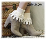 SIGNATURE LACE socks in Ivory women socks lacey socks short boot socks ladies hosiery lace cuff socks Ivory Catherine Cole Studio SLC2