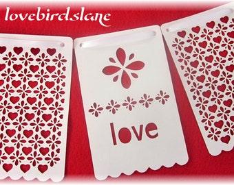 Love Lace Heart Pennant Banner, Wedding Banner, Valentine Decoration