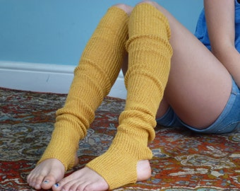 Yoga/Dancer's legwarmers - hand kranked and finished - Gold or Mustard yellow. . 90cm one size fits all