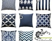Nautical Pillows- Premier Prints Navy Blue Pillow Cover- All Sizes- Zippered Pillow- You Choose- Cushion Cover- Beach Decor Accent