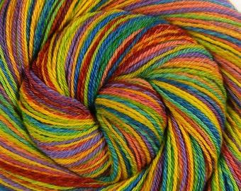 Sport Weight Handspun Yarn, Self Striping -CHASING RAINBOWS- Handpainted Superfine Merino wool, 378 yds, gift for knitter, rainbow yarn