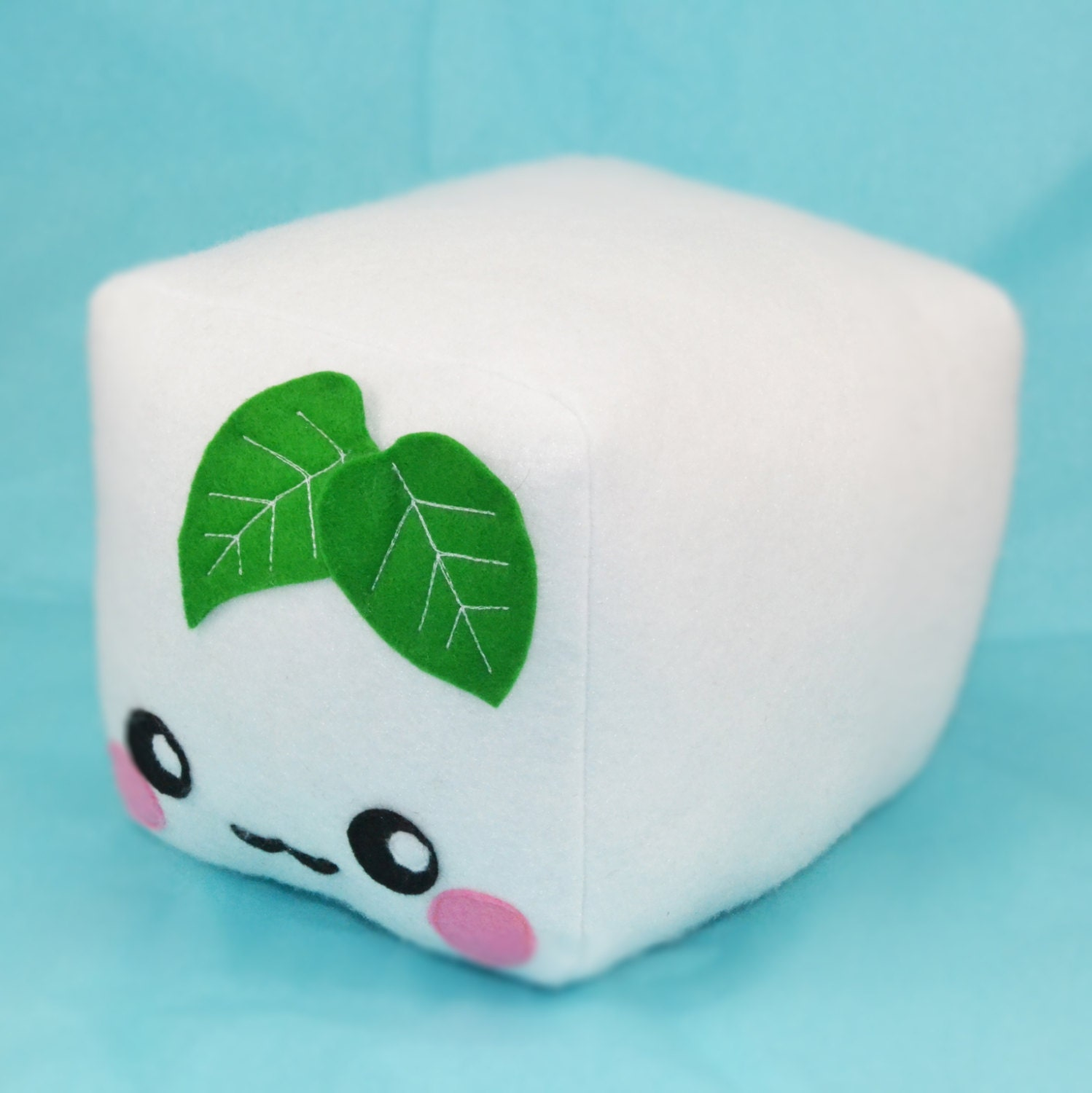 Cute Tofu Pillow : Tofu plush toy pillow cushion plushie food pretend by Plusheez