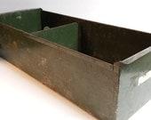 1950's Large Metal File Box Green Storage Planter